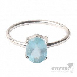 Akvamarín broušený krystal prsten stříbro Ag 925 P891
