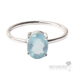 Akvamarín broušený krystal prsten stříbro Ag 925 P896