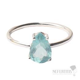 Akvamarín broušený krystal prsten stříbro Ag 925 P910