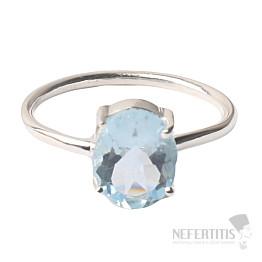 Akvamarín broušený krystal prsten stříbro Ag 925 P916