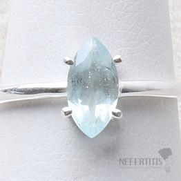 Akvamarín broušený prsten stříbro Ag 925 R999