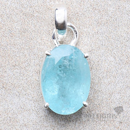 Akvamarín broušený krystal stříbrný přívěsek Ag 925 P795