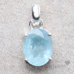 Akvamarín broušený krystal stříbrný přívěsek Ag 925 P805