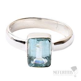 Akvamarín broušený prsten stříbro Ag 925 R866
