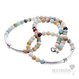 Amazonit a kov náhrdelník a náramek sada