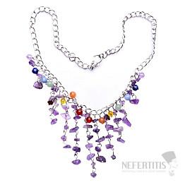 Ametyst náhrdelník sekaný s korálky na řetízku