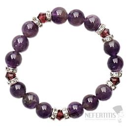 Ametyst náramek korálkový extra s fialovými krystaly