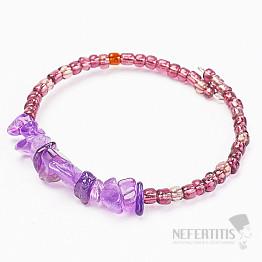 Ametyst náramek sekaný s korálky v lila barvě