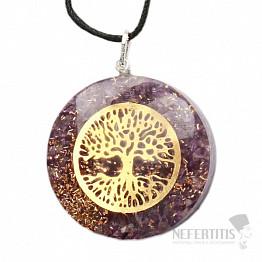 Orgonit přívěsek s ametystem a Stromem života