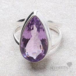 Ametyst Rose de France prsten stříbro Ag 925 R74