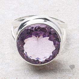Ametyst Rose de France prsten stříbro Ag 925 R75