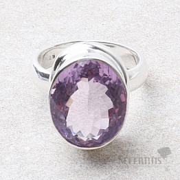 Ametyst Rose de France prsten stříbro Ag 925 R81
