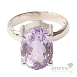 Ametyst Rose de France prsten stříbro Ag 925 R45
