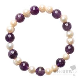 Ametyst náramek korálky s perlami