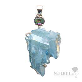 Aqua aura křišťál přívěsek stříbro Ag 925 P315