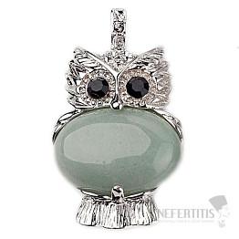 Avanturín zelený třpytivý fashion přívěsek v podobě sovy