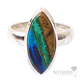 Malachit v azuritu prsten stříbro Ag 925 R177
