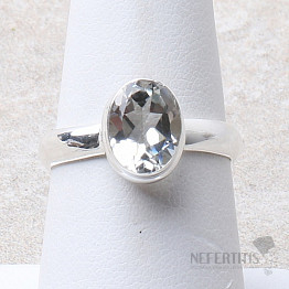 Topaz bílý prsten stříbro Ag 925 R48