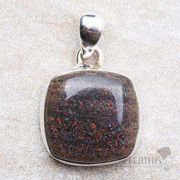 Černý matrix opál přívěsek stříbro Ag 925 P293