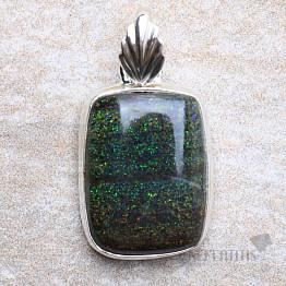 Černý matrix opál přívěsek stříbro Ag 925 P318