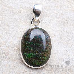 Černý matrix opál přívěsek stříbro Ag 925 P321