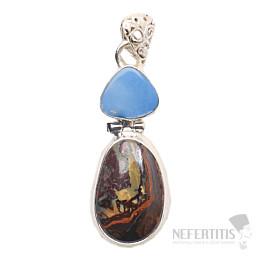 Opál boulder s australským opálem designový přívěsek stříbro Ag 925 JW21755
