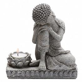 Buddha se stojánkem na svíčku šedá soška