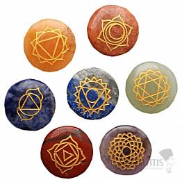 Čakrová sada kamenů se symboly čaker v sáčku Bohyně