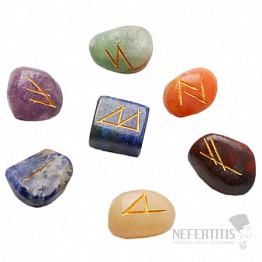 Čakrová sada kamenů s runami