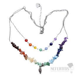 Čakrový náhrdelník sekaný s korálky na řetízku