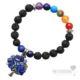 Čakrový náramek z lávového kamene se Stromem života lapis lazuli