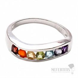 Čakrový prsten Vlnka stříbro s polodrahokamy Ag 925