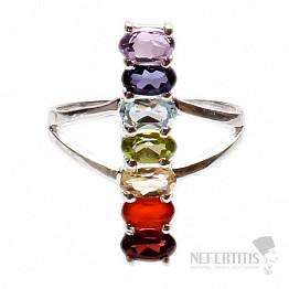 Čakrový prsten Přímka života stříbro s polodrahokamy Ag 925