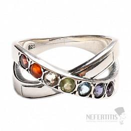 Čakrový prsten Mašlička stříbro s polodrahokamy Ag 925