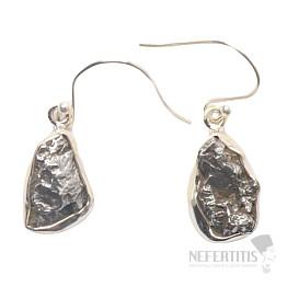Meteorit Campo del Cielo náušnice stříbro Ag 925 E338