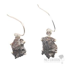 Meteorit Campo del Cielo náušnice stříbro Ag 925 E386