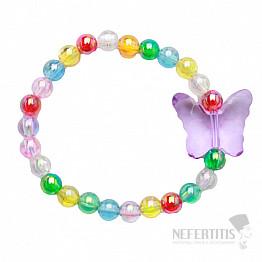 Dětský náramek s barevnými perličkami a s motýlem