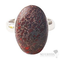 Zkamenělá dinosauří kost prsten Ag 925 R320