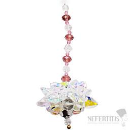 Lotosový květ s Andělskou aurou Feng Shui závěs do okna z křišťálů