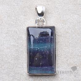 Fluorit multicolor přívěsek stříbro Ag 925 P853