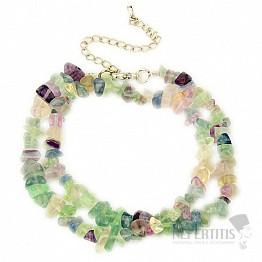 Fluorit multicolor náhrdelník sekaný