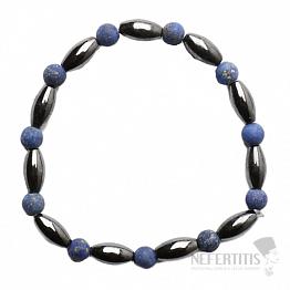 Hematit náramek oválky s korálky lapisu lazuli