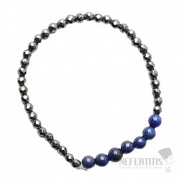 Hematit fazetovaný náramek s korálky lapisu lazuli
