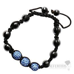 Shamballa náramek hematit se safírově modrými korálky