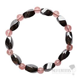 Hematit náramek Twist s korálky cherry křišťálu