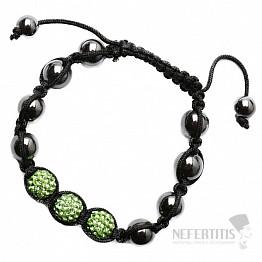 Shamballa náramek hematit se zelenými korálky