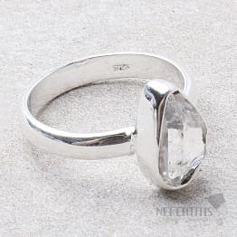 Herkimer diamant prsten stříbro Ag 925 R1950