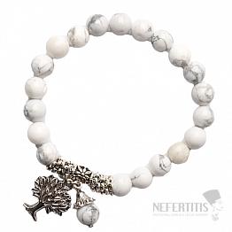 Howlit bílý náramek extra korálkový se stromem života