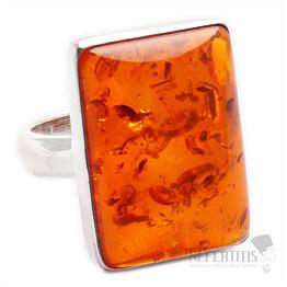 Jantar prsten stříbro Ag 925 R607