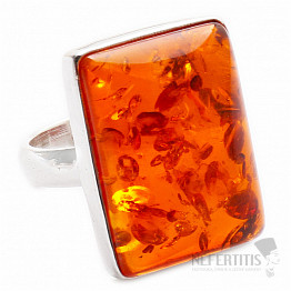 Jantar prsten stříbro Ag 925 R609